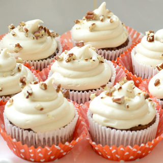 Low Sugar Carrot Cupcakes with Cream Cheese Frosting