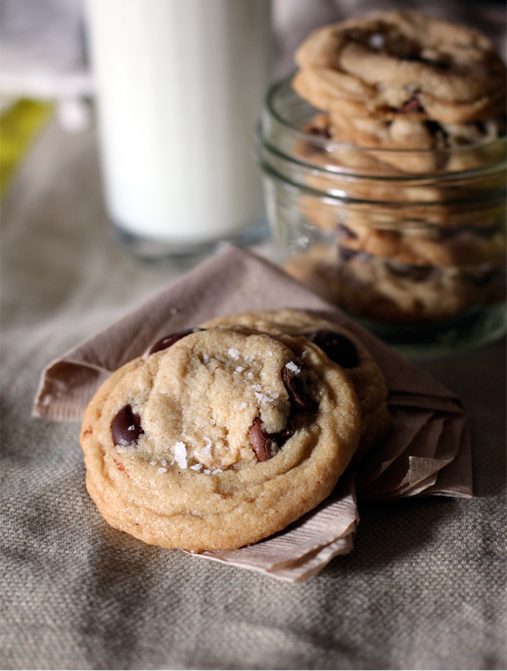 Chewy brown butter chocolate chip cookies with sea salt recipe.
