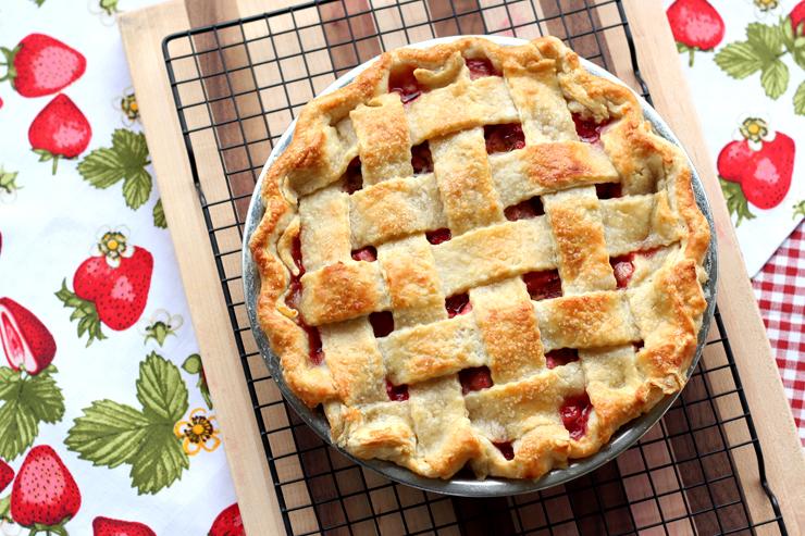 Strawberry Rhubarb Pie with a splash of St. Germain.