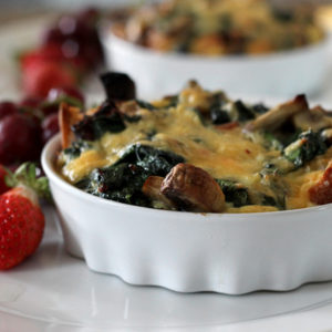 Bacon Cheddar and Veggie Strata, a Portland brunch without the line.