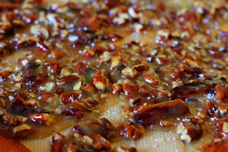Bourbon bacon brittle immediately after pouring onto a cookie sheet