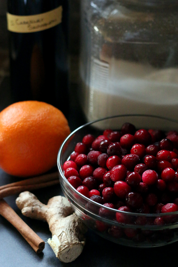 The cranberry hand pie filling is so simple, cranberries, cabernet, sugar, orange, cinnamon sticks and ginger.