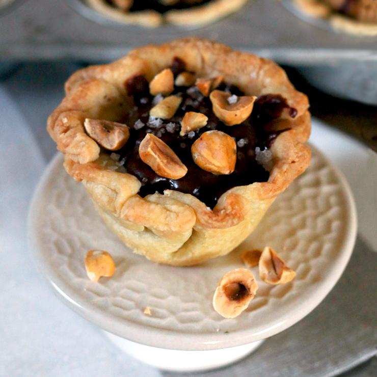 Espresso Chocolate Pudding Mini Pies With Hazelnuts and Vanilla Bean Flake Salt