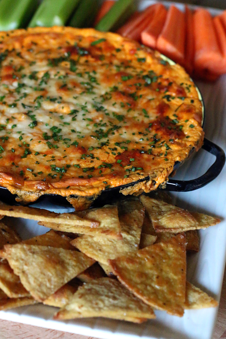 Spicy White Bean Buffalo Dip and Baked Lime Tortilla Chips