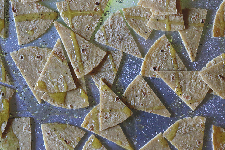 Baked tortilla chips before baking