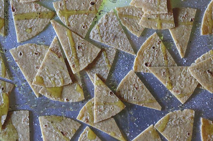 Baked tortilla chips before baking