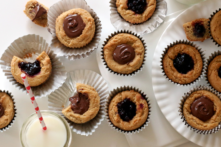 Peanut Butter Cookie Cups with Nutella and Jam