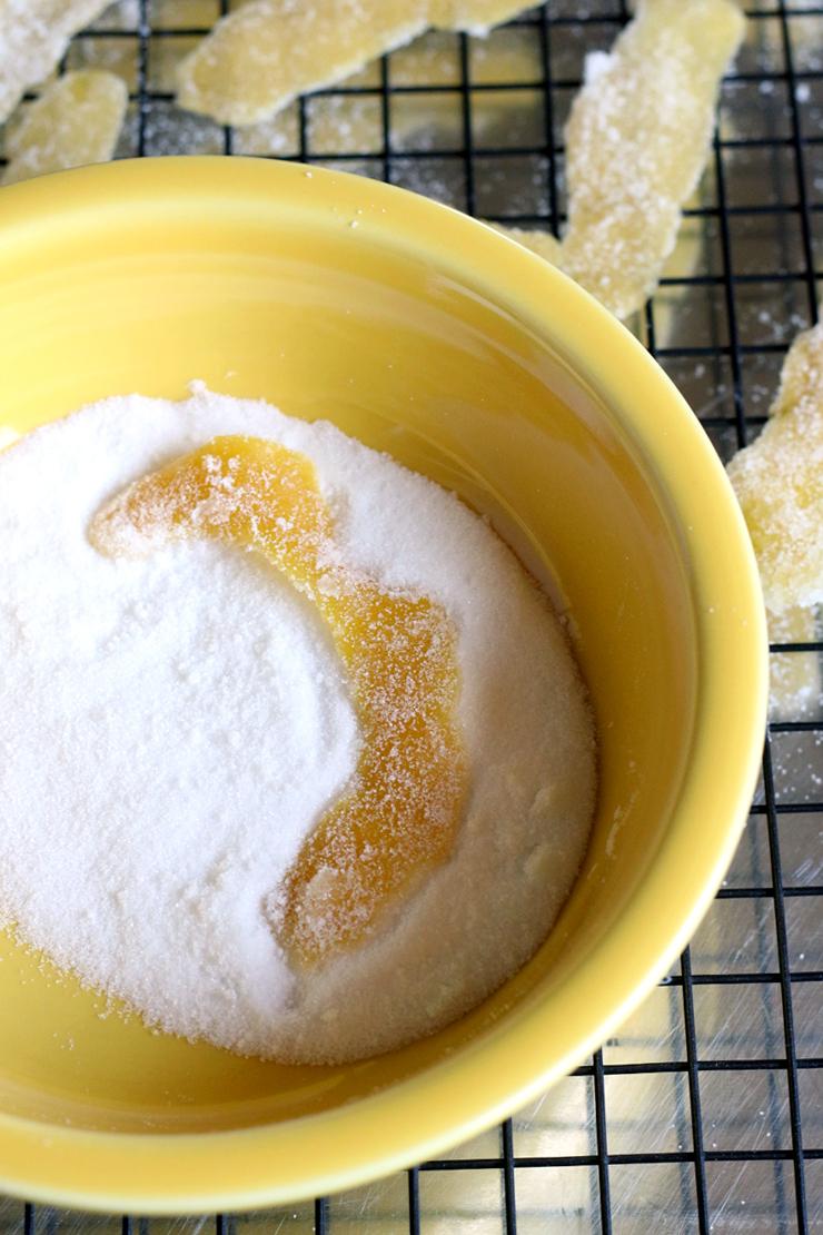 Roll the lemon peel in sugar