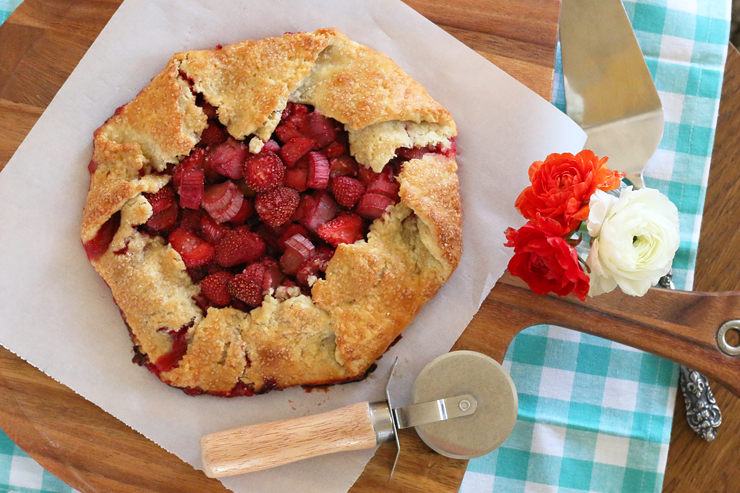 Rustic Strawberry Rhubarb Galette with Ginger.