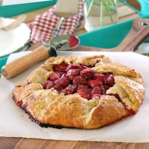 Rustic Strawberry Rhubarb Galette with Ginger