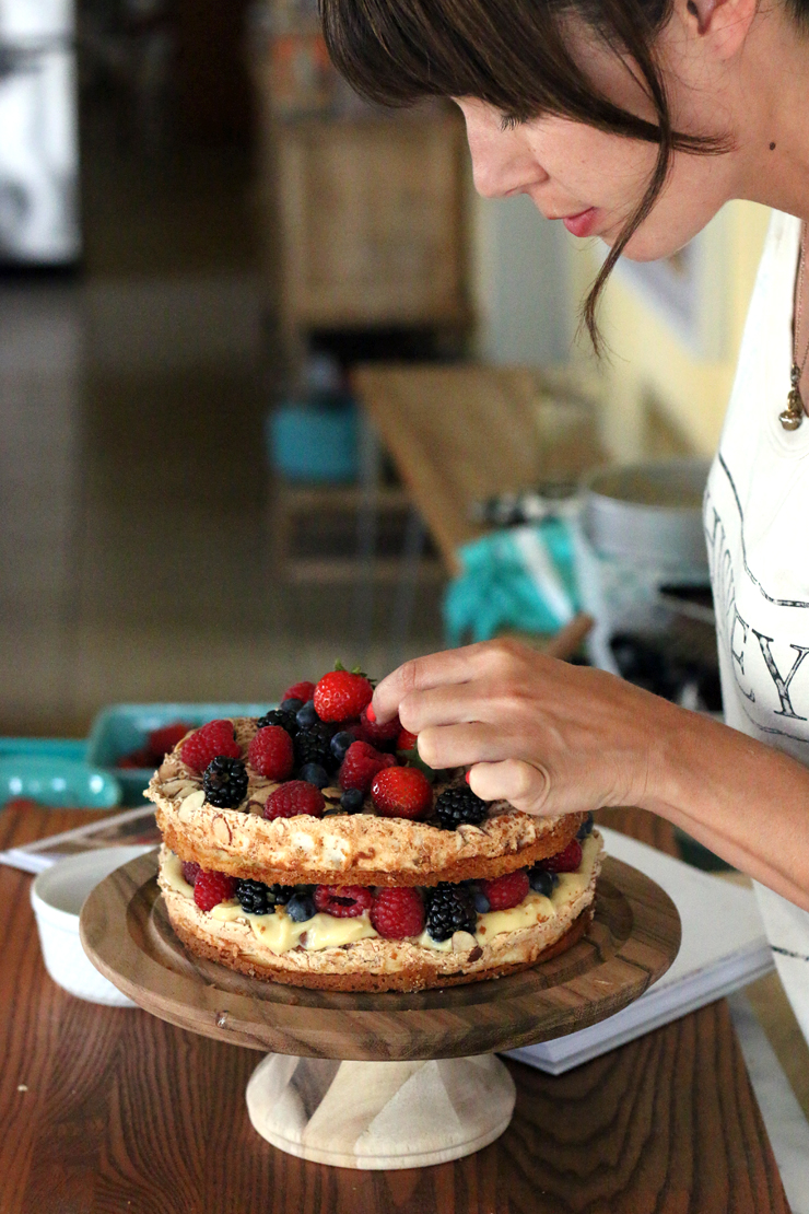 Berry Blitz Torte Adding Berries