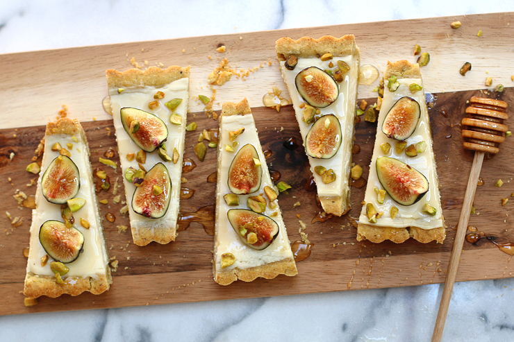 Fig Mascarpone Tart with Pistachio Black Pepper Crust slices