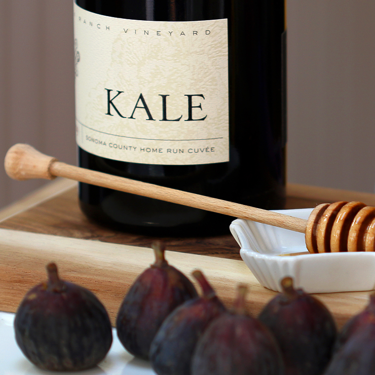 Kale Sonoma County Home Run Cuvée with figs for Fig Mascarpone Tart