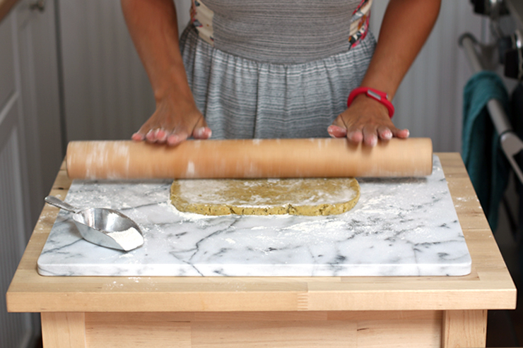 rolling tart dough for Fig Mascarpone Tart with Pistachio Black Pepper Crust