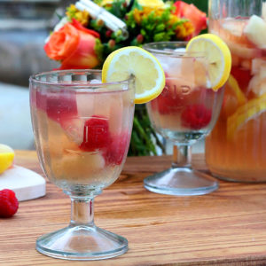 White Sangria with Nectarines and Raspberries