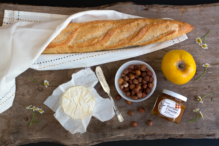The basics for this recipe: Bakery quality, rustic baguette, soft ripened goat cheese, sweet crisp apples, whole hazelnuts, and real cajeta