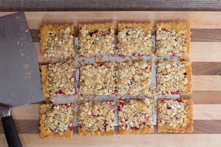 cut Strawberry Rhubarb & Ginger Crumble Bars