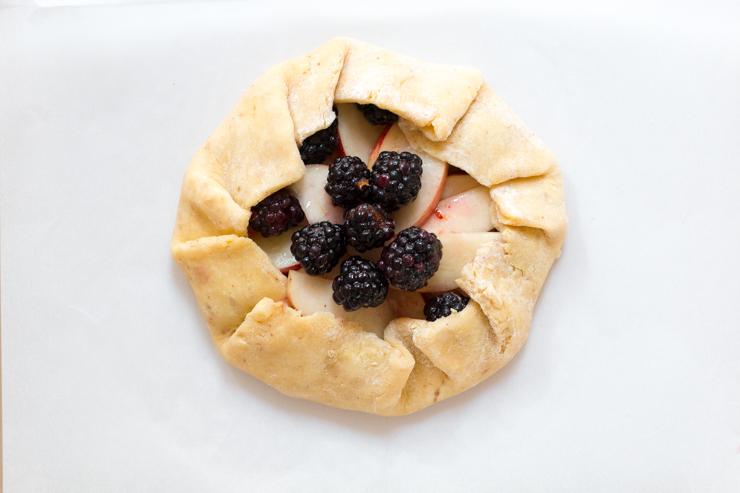 blackberry nectarine galette fold