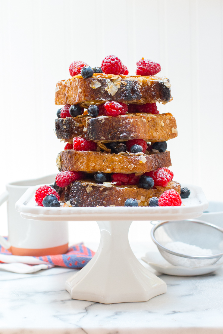 Coconut French Toast tower with berries