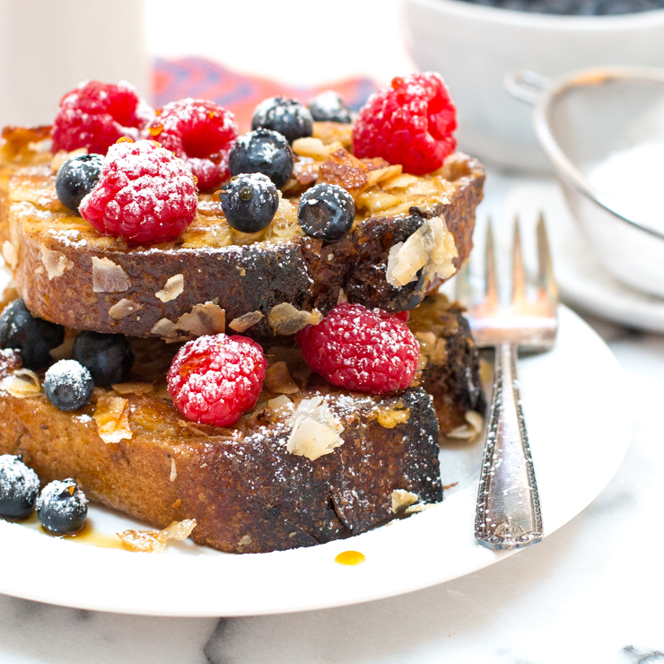 Coconut French Toast with Mixed berries and coconut nectar
