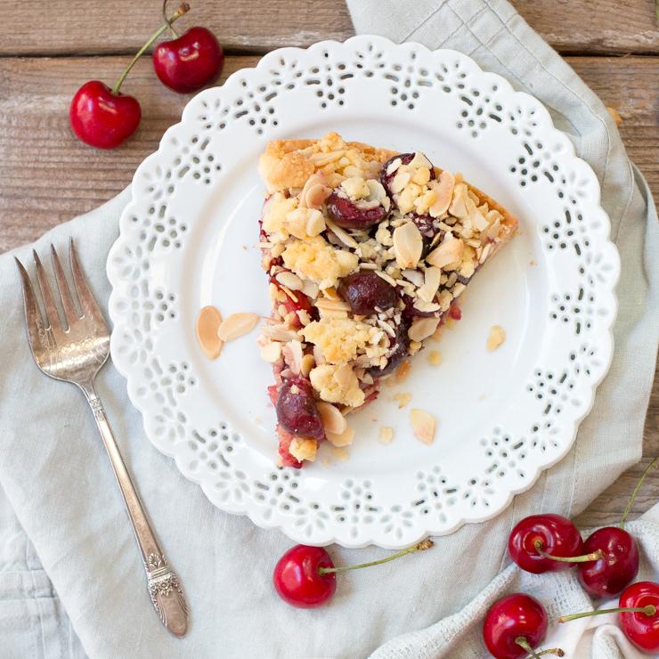 Cherry Almond Shortbread Crumble Tart