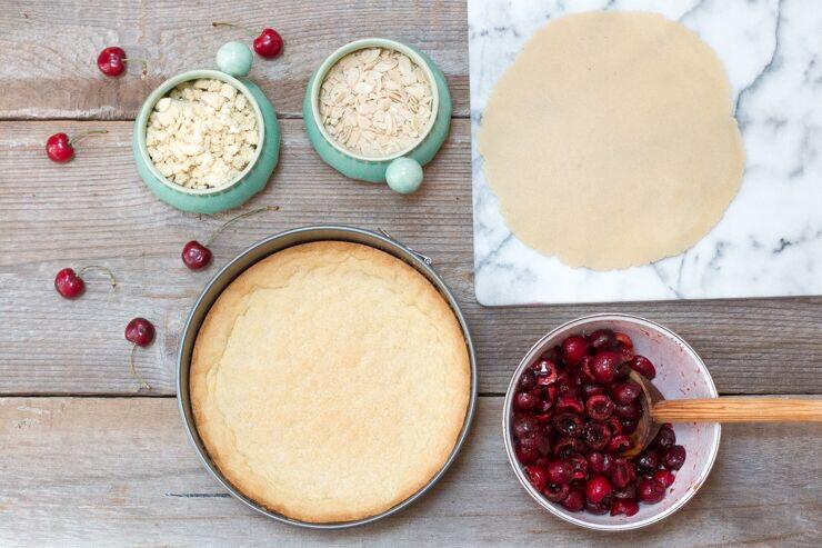 Cherry Almond Shortbread Crumble Tart assemmbly