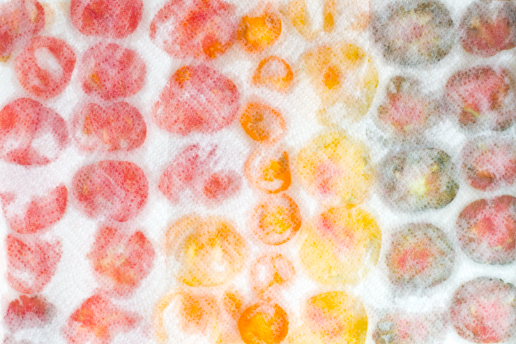 Colorful BLT Galette tomatoes covered with paper towels and soaking through