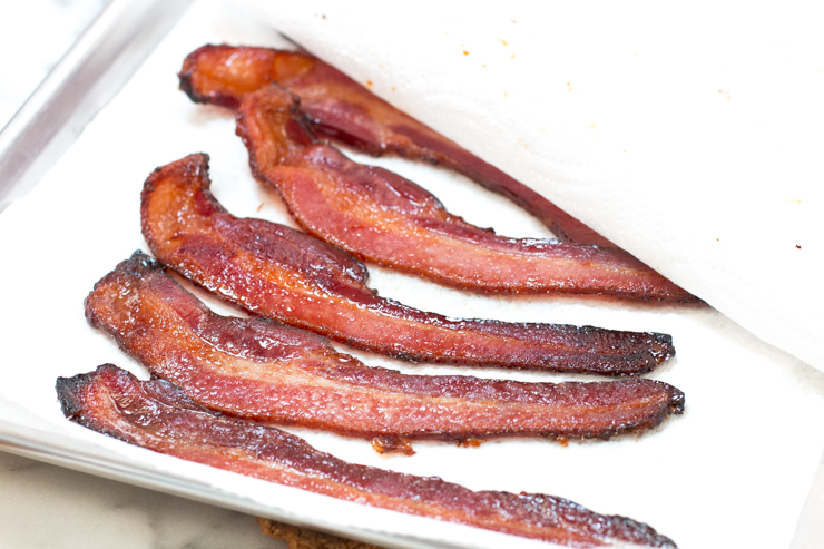 Brown Sugar Bacon fresh out of the oven has a juicy glaze