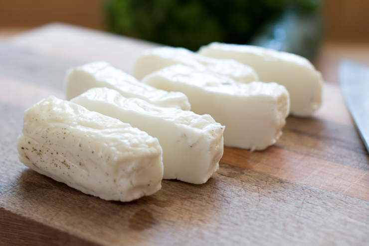sliced halloumi cheese before grilling