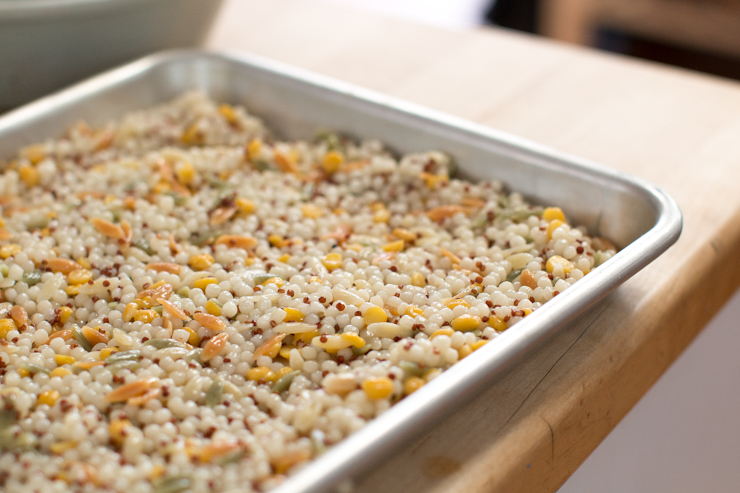 harvest grain salad, cooked and spread in a baking sheet