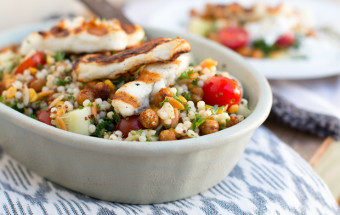 Mediterranean Salad with Grilled Halloumi Cheese