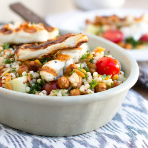 Mediterranean Grain Salad with Grilled Halloumi