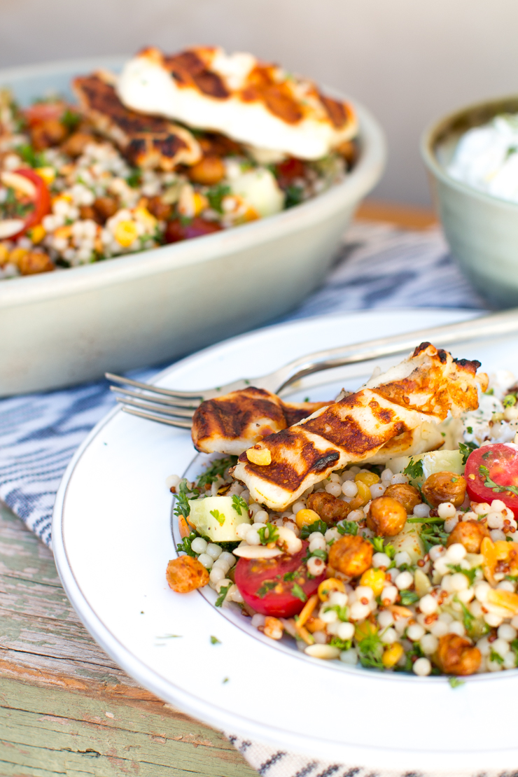 Mediterranean Grain Salad with Grilled Halloumi by Becky Sue