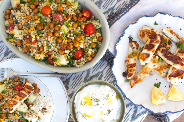 Mediterranean Grain Salad with Grilled Halloumi and Tzatziki by Becky Sue