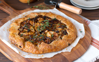 French Onion Gruyere Pear Galette close up