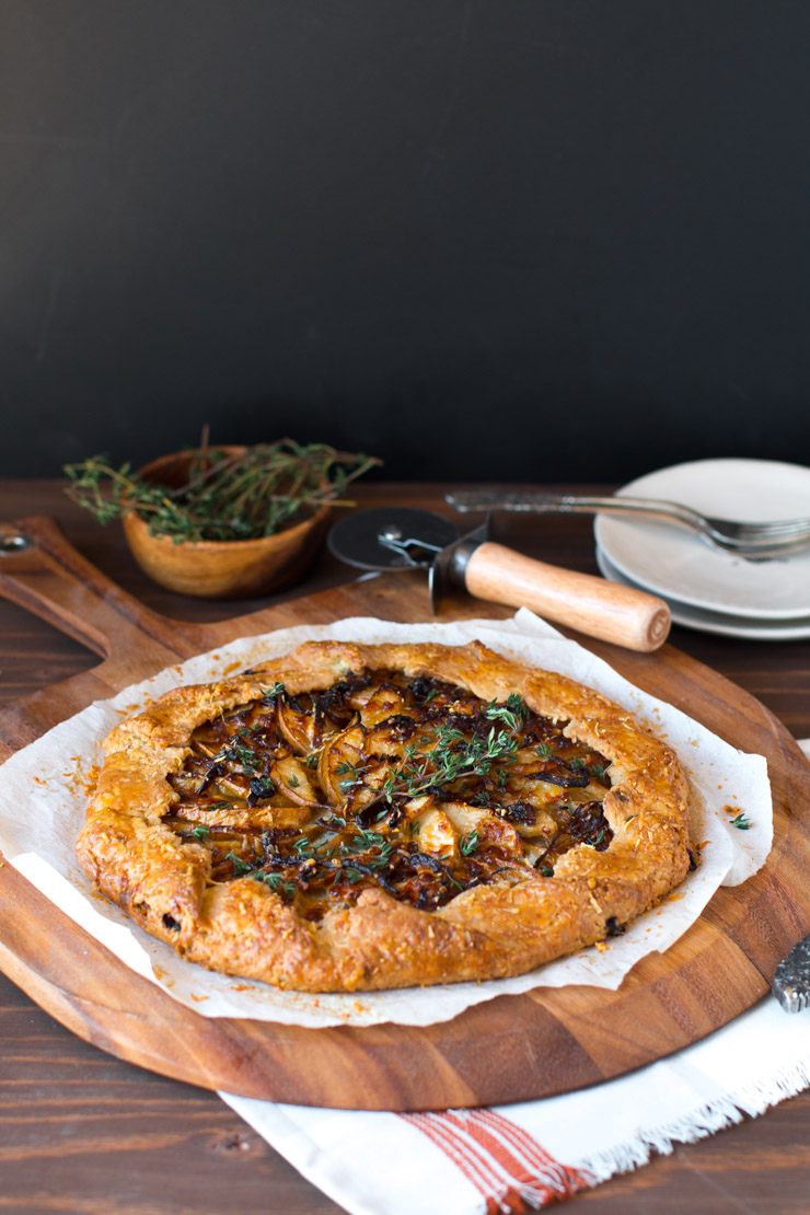 French Onion Gruyere Pear Galette