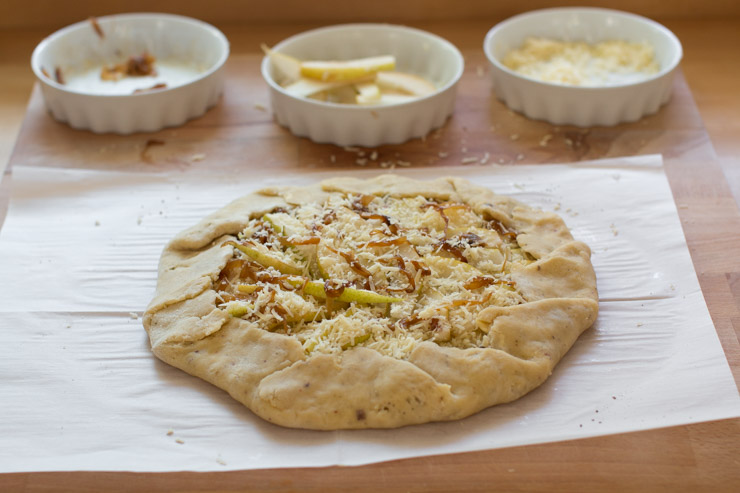 French Onion Gruyere Pear Galette shaped