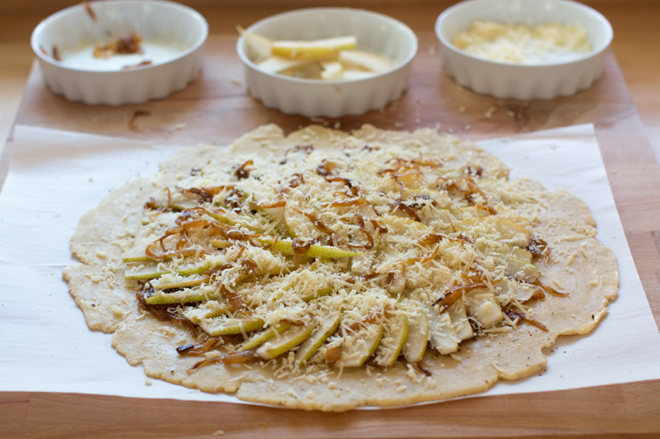 French Onion Gruyere Pear Galette layering