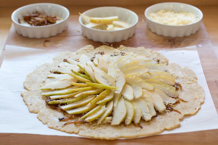 French Onion Gruyere Pear Galette pear layer