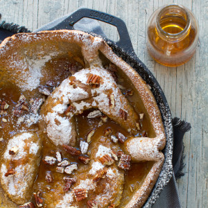 Hootenanny Pancakes with Bourbon Maple Syrup