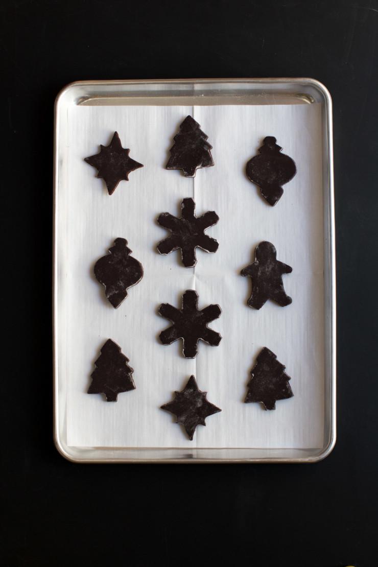 Peppermint Mocha Cookie dough on lined baking sheet
