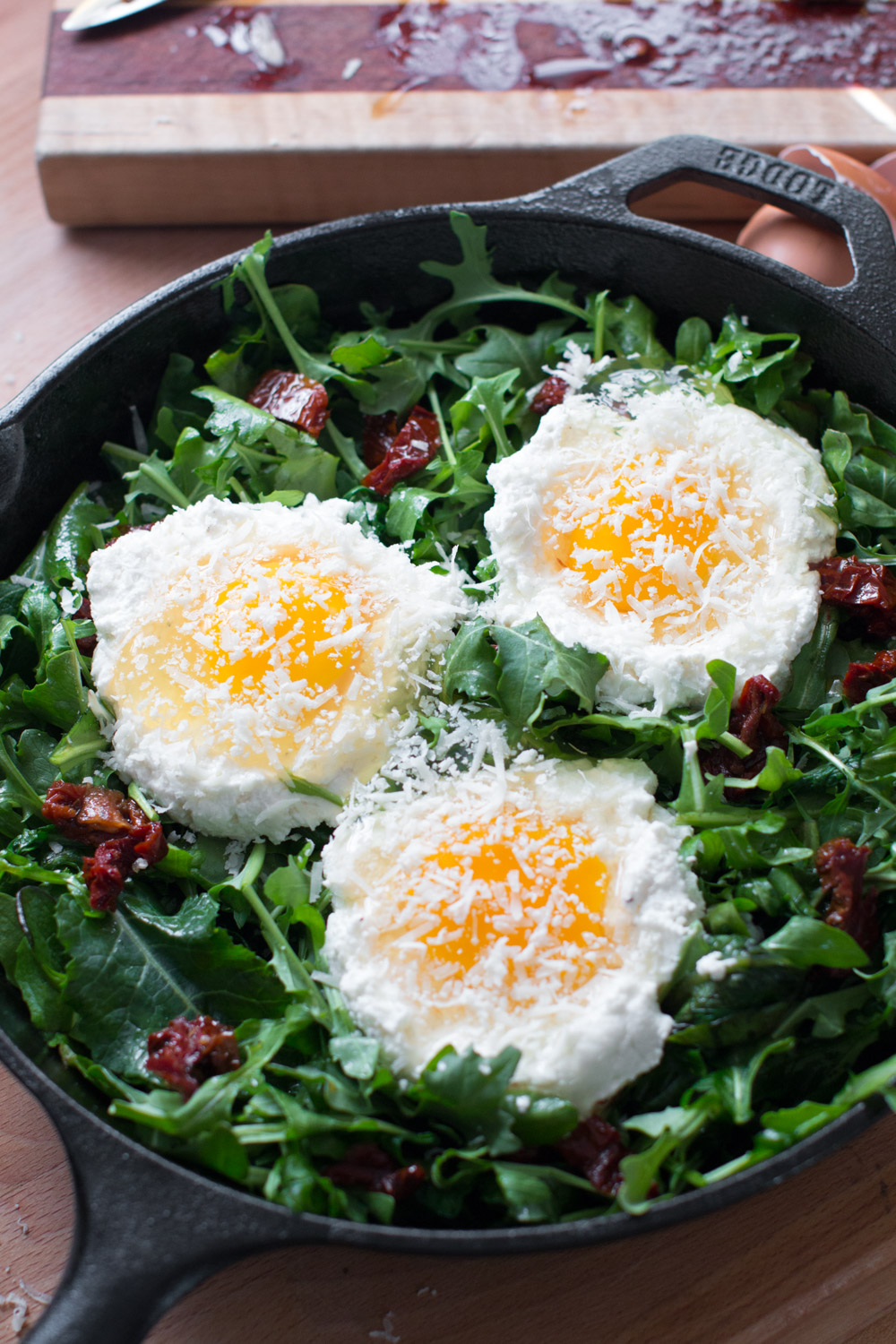 Baked Eggs with Ricotta, Greens & Sun Dried Tomatoes-11