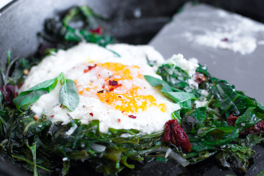 Baked Eggs with Ricotta, Greens & Sun Dried Tomatoes-30