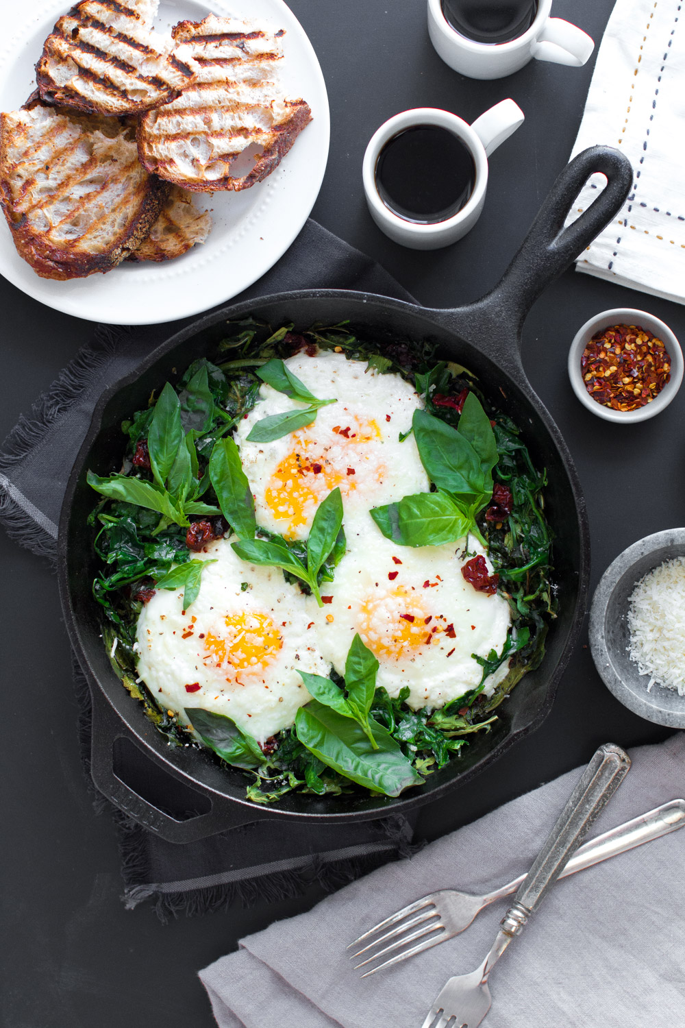 Baked Eggs with Ricotta, Greens & Sun Dried Tomatoes-35