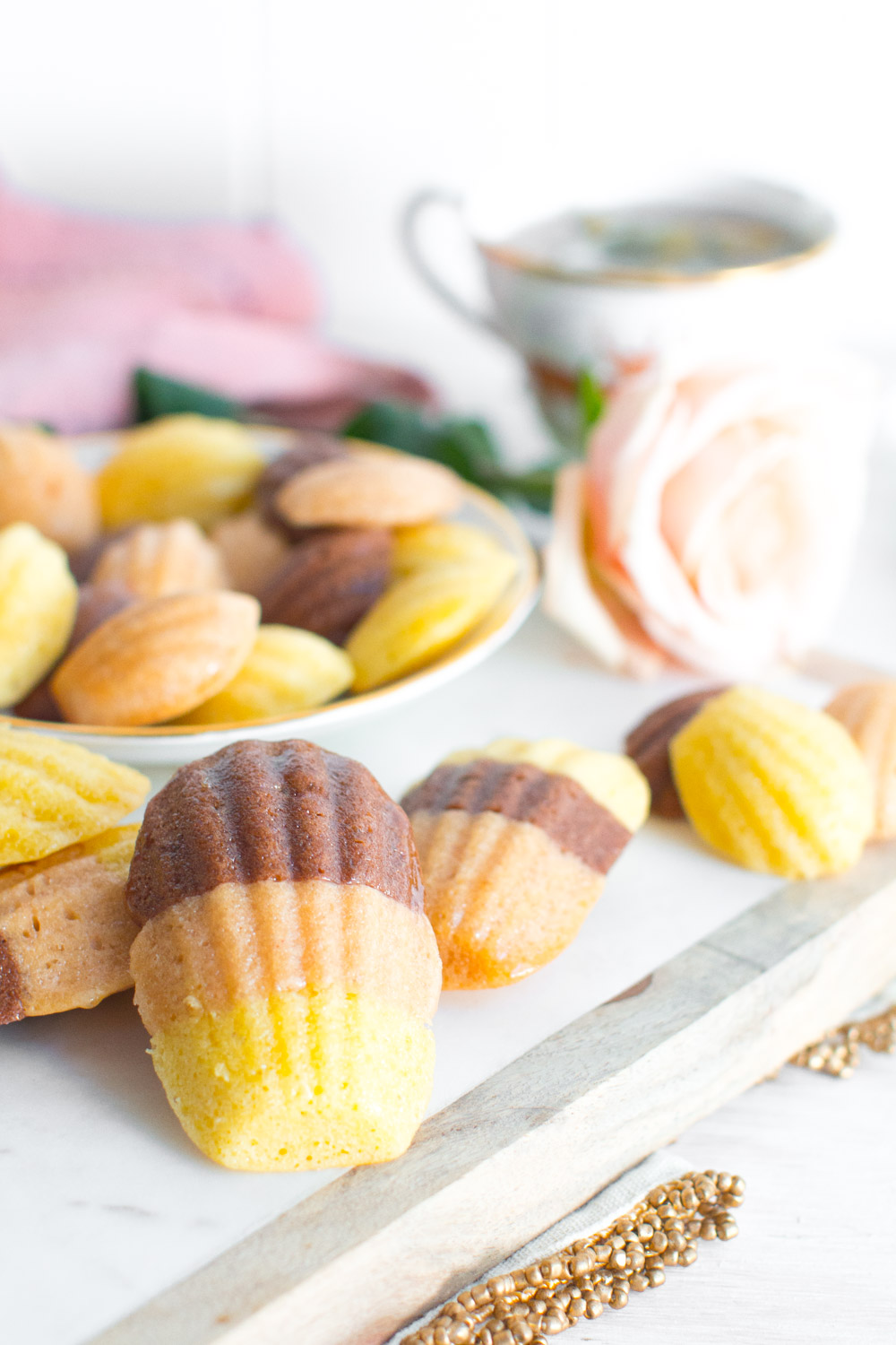 Chocolate, Strawberry and Vanilla Neapolitan Madeleines. Doesn't get much sweeter than this.