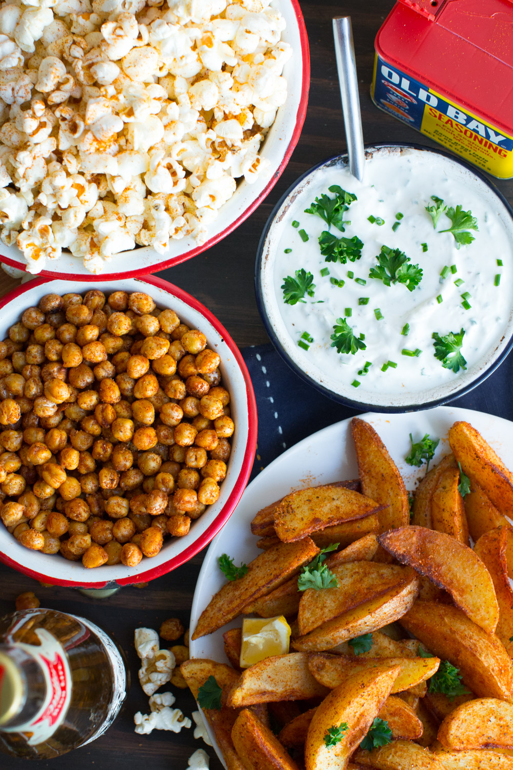 Old Bay Popcorn, Crispy Old Bay Chickpeas, and Old Bay JoJos with Tangy Yogurt Chive Dip