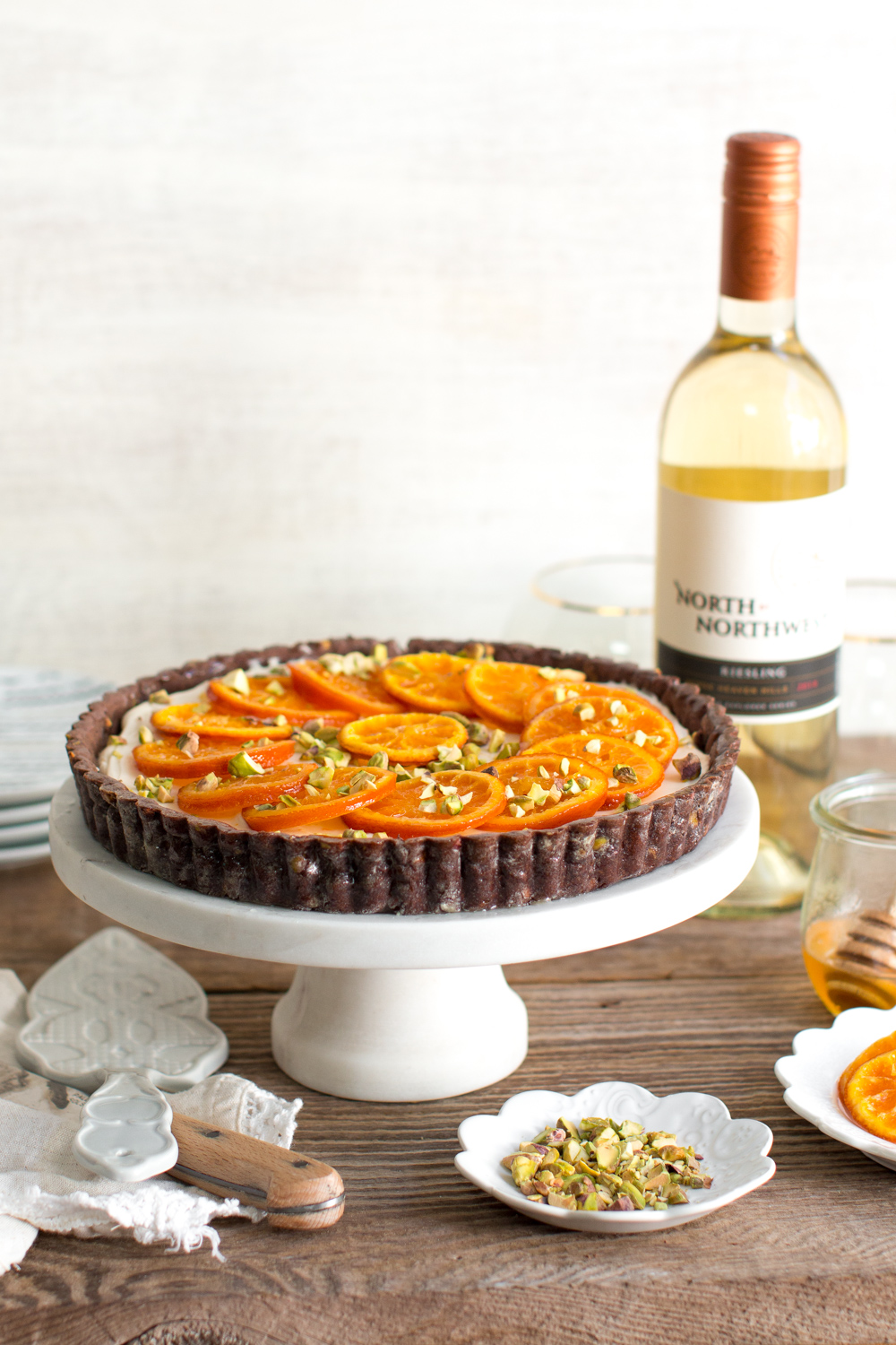 Candied Tangerine Mascarpone Tart with Pistachio Chocolate Crust with NxNW Riesling