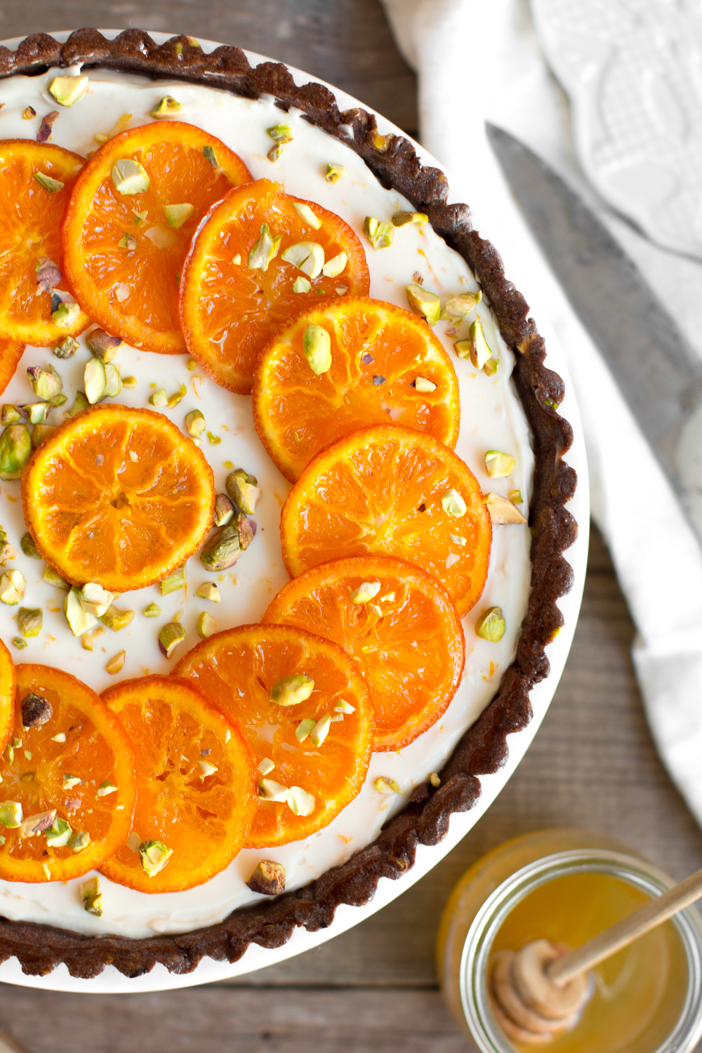 Candied Tangerine Mascarpone Tart with Pistachio Chocolate Crust