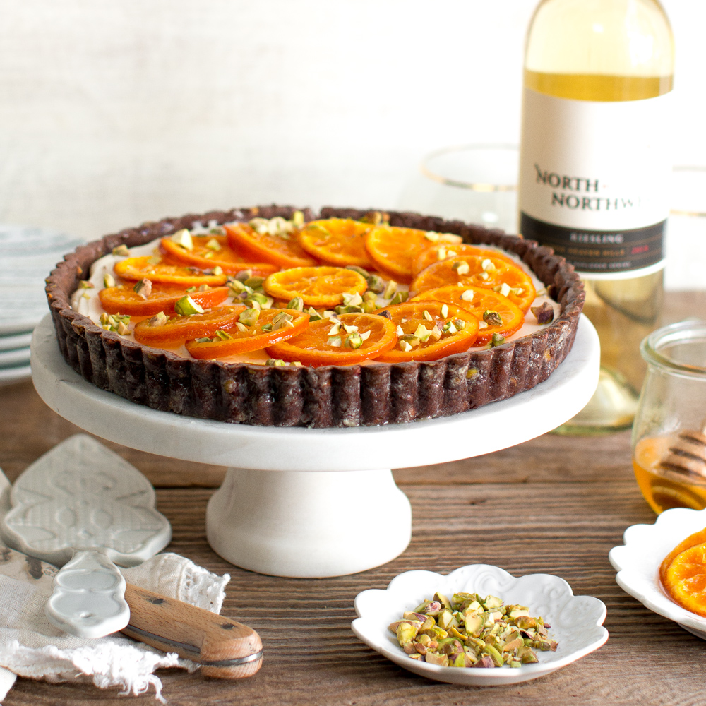 Candied Tangerine Mascarpone Tart with Pistachio Chocolate Crust.
