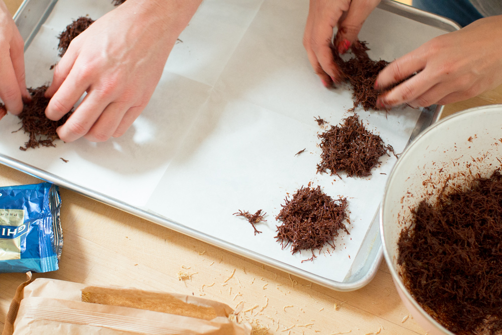 Shaping Chocolate Birds' Nests